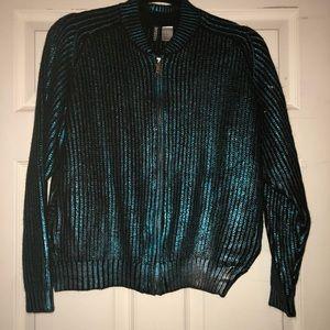 Metallic zip up sweater